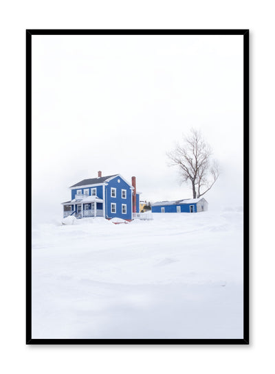 Minimalist design poster by Opposite Wall with photography of blue house in winter snow
