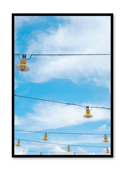 Minimalist design poster by Opposite Wall with photography of hanging lanterns against blue sky