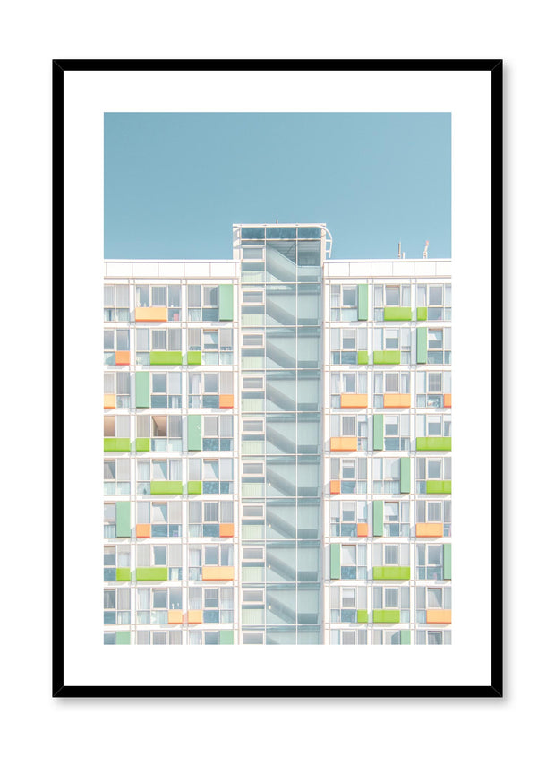 Minimalist design poster by Opposite Wall with urban photography of neon high rise building