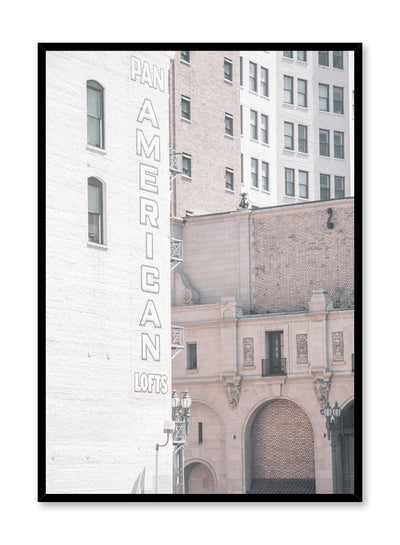Minimalist design poster by Opposite Wall with urban photography of industrial Pan American Lofts building