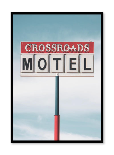 Minimalist design poster by Opposite Wall with photography of Crossroads Motel sign