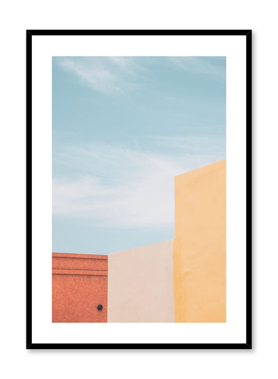 Minimalist design poster by Opposite Wall with photography of trio of bright colour buildings