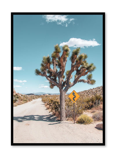 Desert Road Minimalist design poster by Opposite Wall with landscape photography of tree in desert