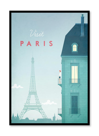 Modern minimalist poster by Opposite Wall with illustration of Paris travel poster