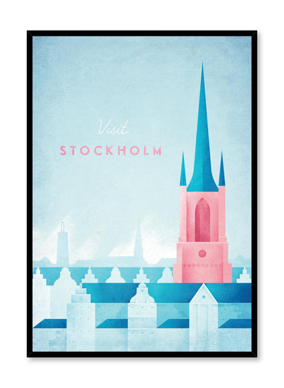 Modern minimalist travel poster by Opposite Wall with illustration of Stockholm, Sweden
