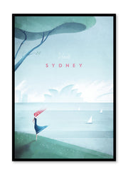Modern minimalist travel poster by Opposite Wall with illustration of Sydney, Australia