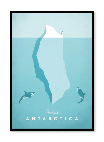 Modern minimalist travel poster by Opposite Wall with illustration of Antarctica