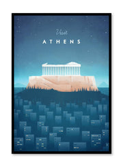 Modern minimalist travel poster by Opposite Wall with illustration of Athens