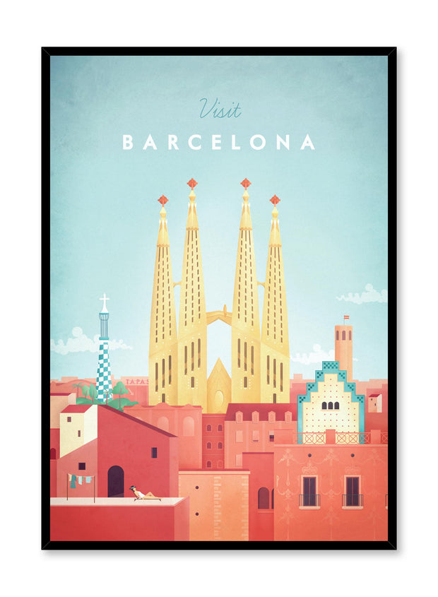 Modern minimalist travel poster by Opposite Wall with illustration of Barcelona, Spain