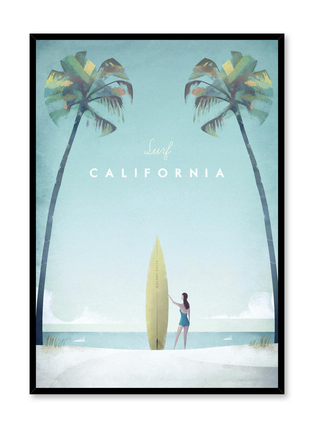 Modern minimalist travel poster by Opposite Wall with illustration of California beach