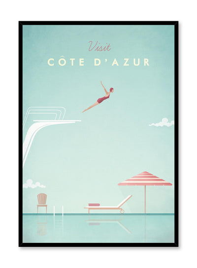 Modern minimalist travel poster by Opposite Wall with illustration of la Côte d'Azur
