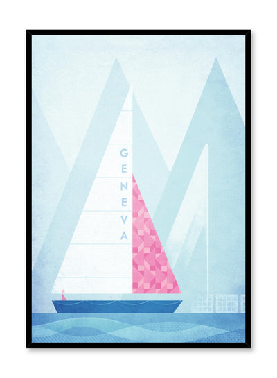 Modern minimalist travel poster by Opposite Wall with illustration of Geneva