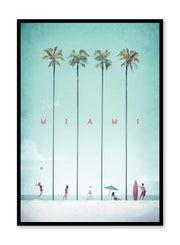 Modern minimalist travel poster by Opposite Wall with illustration of Miami