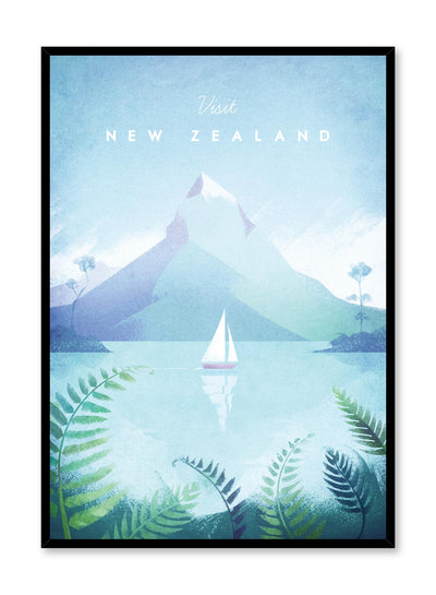 Modern minimalist travel poster by Opposite Wall with illustration of New Zealand