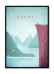 Modern minimalist travel poster by Opposite Wall with illustration of Norway
