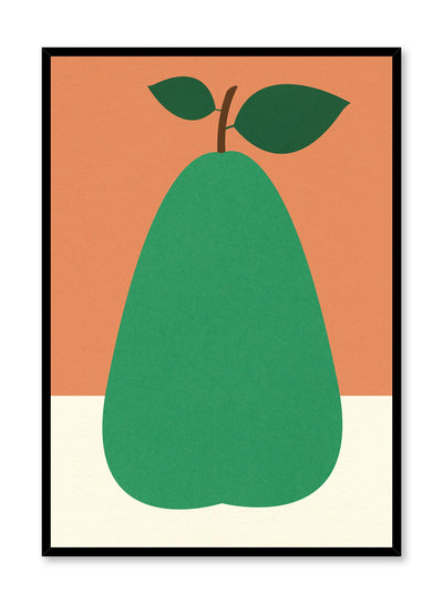 Modern minimalist poster by Opposite Wall with collage illustration of green pear