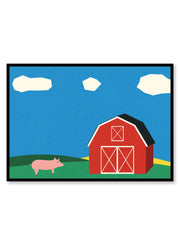 Modern minimalist poster by Opposite Wall with collage illustration of barn on a farm