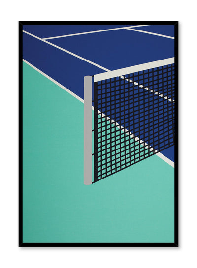 Modern minimalist poster by Opposite Wall with abstract collage illustration of tennis court