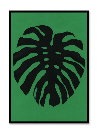 Modern minimalist poster by Opposite Wall with abstract collage illustration of monstera leaf