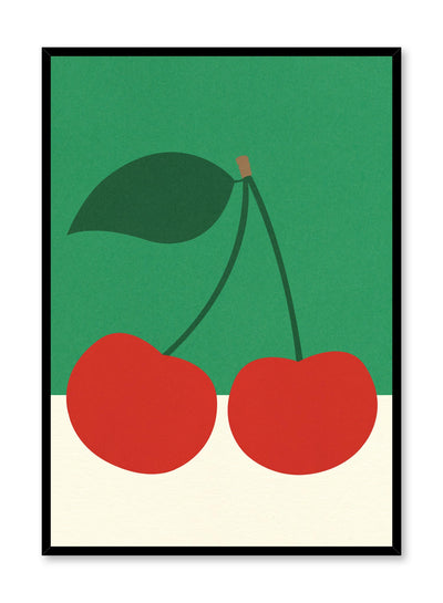 Modern minimalist poster by Opposite Wall with abstract collage illustration of cherries