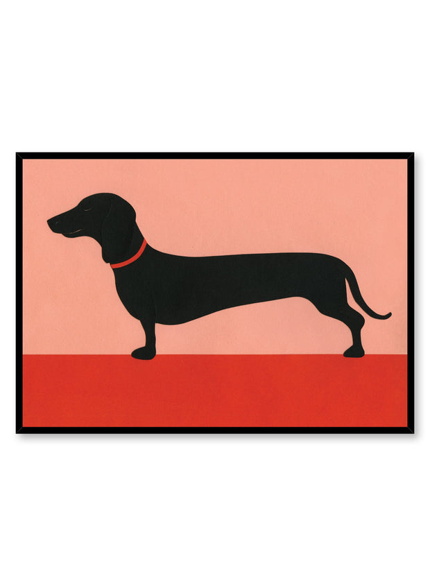 Modern minimalist poster by Opposite Wall with abstract collage illustration of dachshund weiner dog