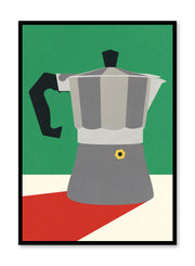 Modern minimalist poster by Opposite Wall with abstract collage illustration of espresso maker