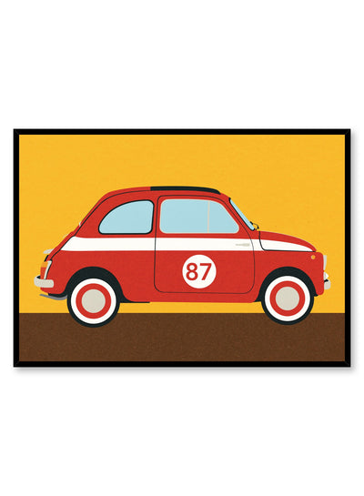 Modern minimalist poster by Opposite Wall with abstract collage illustration of vintage automobile car