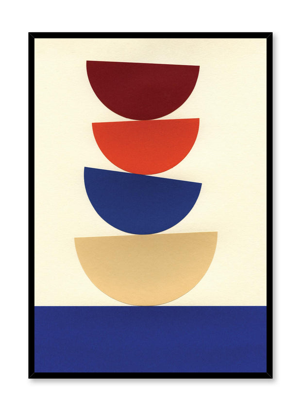 Modern minimalist poster by Opposite Wall with abstract collage illustration of balanced bowl shapes