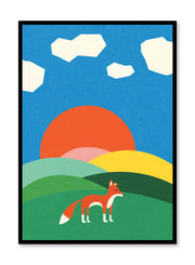 Modern minimalist poster by Opposite Wall with abstract collage illustration of fox in hills