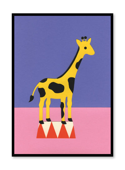Modern minimalist poster by Opposite Wall with abstract collage illustration of giraffe standing on podium