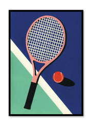 Modern minimalist poster by Opposite Wall with abstract collage illustration of tennis racket