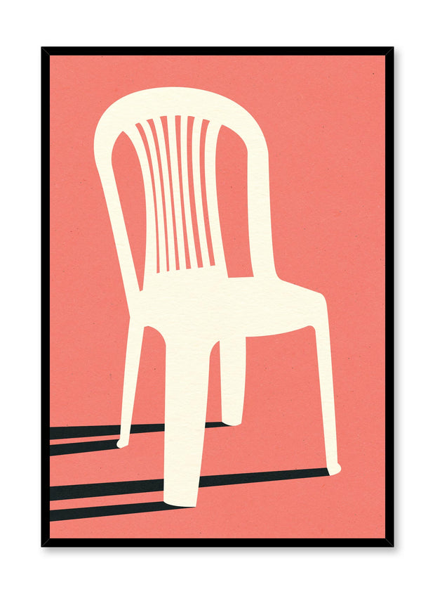 Modern minimalist poster by Opposite Wall with abstract collage illustration of plastic lawn chair