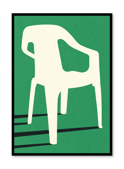 Modern minimalist poster by Opposite Wall with abstract collage illustration of plastic garden chair green background