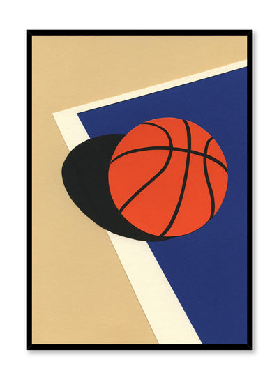 Modern minimalist poster by Opposite Wall with abstract collage illustration of basketball