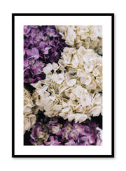Minimalistic wall poster by Opposite Wall with Purple Hydrangeas floral photography