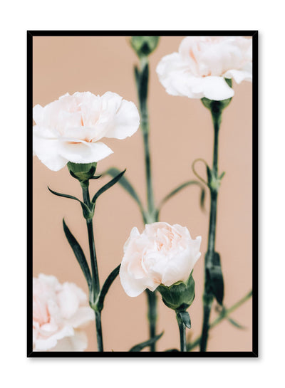 Minimalistic wall poster by Opposite Wall with pink carnation floral photography