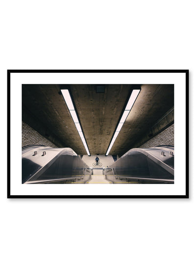Minimalist design poster by Opposite Wall with urban street photography of metro station escalator