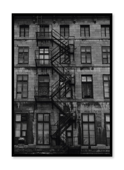 Minimalist design poster by Opposite Wall with urban fire escape black and white photography