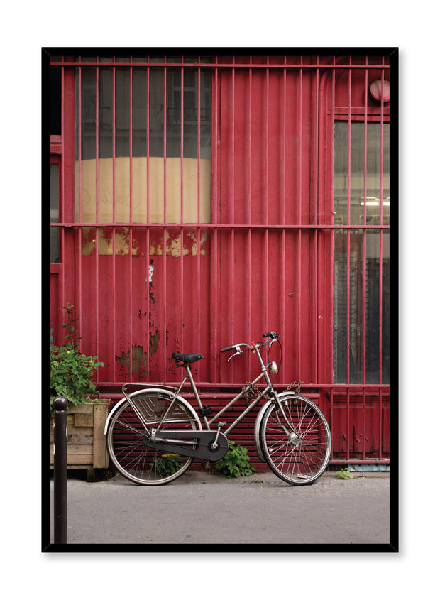 Minimalist design poster by Opposite Wall with urban photography of bike and red wall