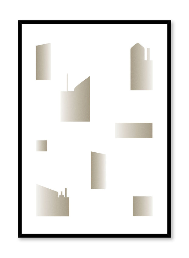 Minimalist design poster by Opposite Wall with abstract golden cityscape