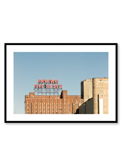Minimalist design poster by Opposite Wall with urban photography of Montreal Farine Five Roses