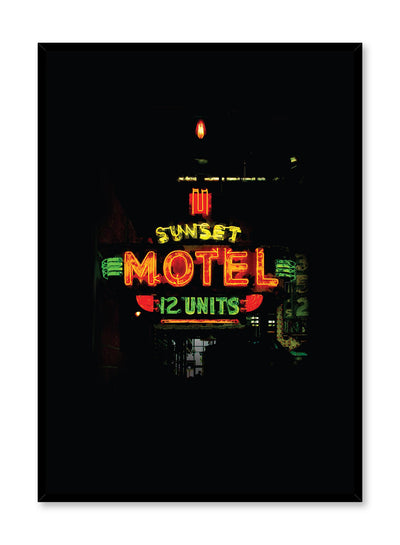 Minimalist design poster by Opposite Wall with urban night photography of Sunset Motel