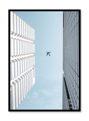 Minimalist design poster by Opposite Wall with urban photography of airplane over city