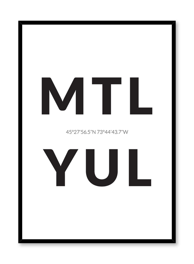 Minimalist design poster by Opposite Wall with airport code MTL YUL