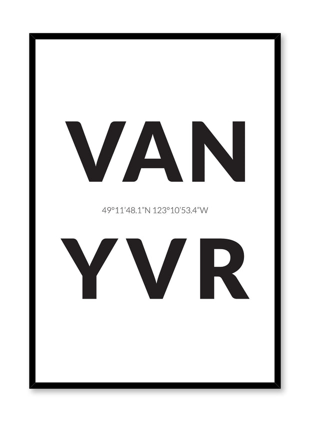 Minimalist design poster by Opposite Wall with airport code Vancouver YVR