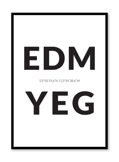 Minimalist design poster by Opposite Wall with airport code Edmonton YEG