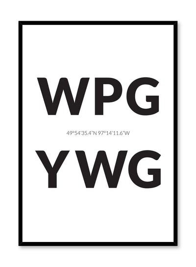 Minimalist design poster by Opposite Wall with airport code Winnipeg YWG