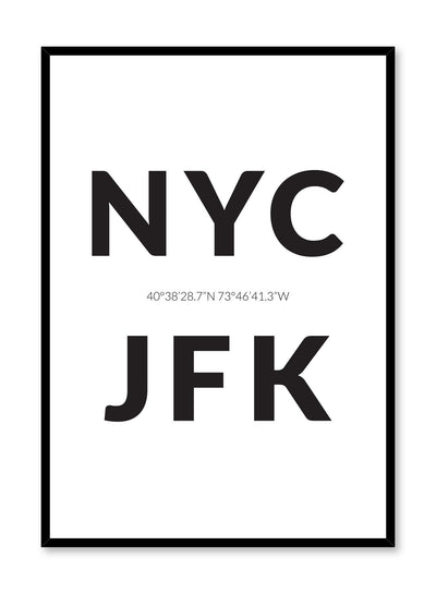 Minimalist design poster by Opposite Wall with airport code New York City JFK