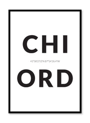 Minimalist design poster by Opposite Wall with airport code Chicago ORD