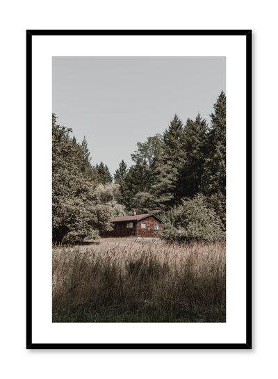 Minimalist design poster by Opposite Wall with nature photography of Vancouver Island Cottage in the forest